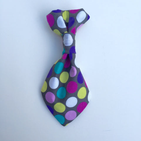 Pet Tie - Purple Multi Polka Dots