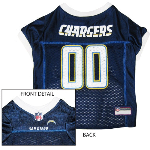 NFL - San Diego Chargers Dog Jersey - White Trim - Three Humans & A Dog Company