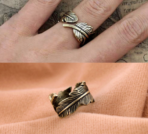 Rings   Bronze Vintage Leaf Open Ring