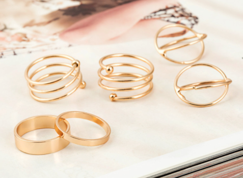 Rings   6 Pcs Gold Plated Knuckle Ring Set