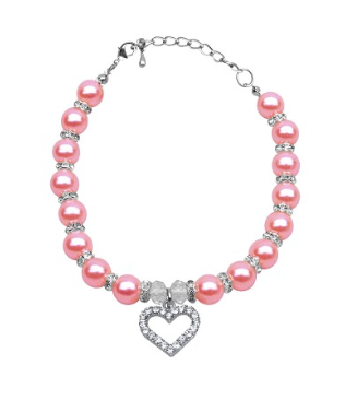 Collar - Pink Pearl and Heart Necklace