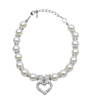 Collar - White Heart and Pearl Necklace