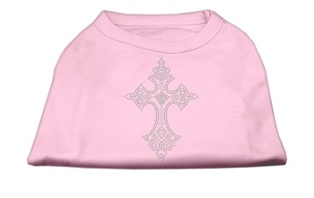 Dog Shirt - Rhinestone Cross Shirts Light Pink T-shirt