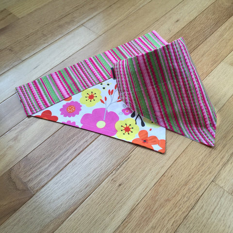 Bandana - Designed Spring Flowers with Stripes