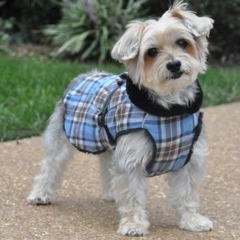 Alpine Flannel Dog Coats - Navy & Turquoise Plaid