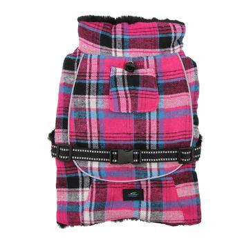 Alpine Flannel Dog Coats - Raspberry Pink & Turquoise Plaid