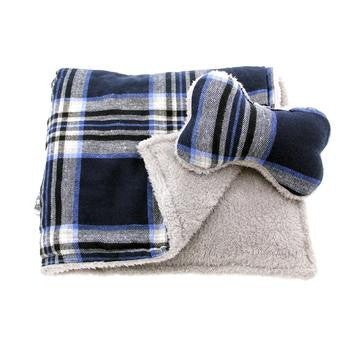 Blue Plaid Dog Bed with Bone and Blanket