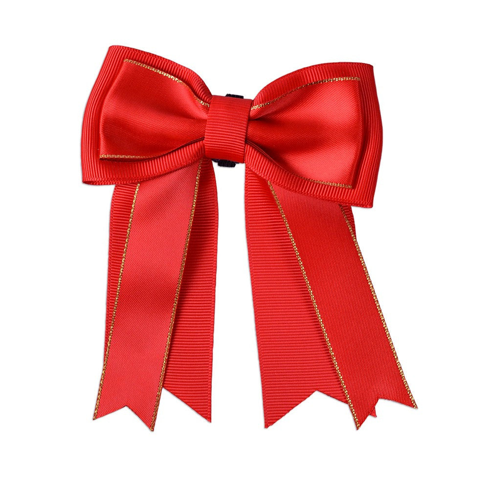 Ribbon Bow - Christmas Red Grosgrain - Three Humans & A Dog Company  - 1