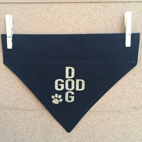Bandana - Designed on Black and Gold Polka Dots - God Dog - Three Humans & A Dog Company  - 1