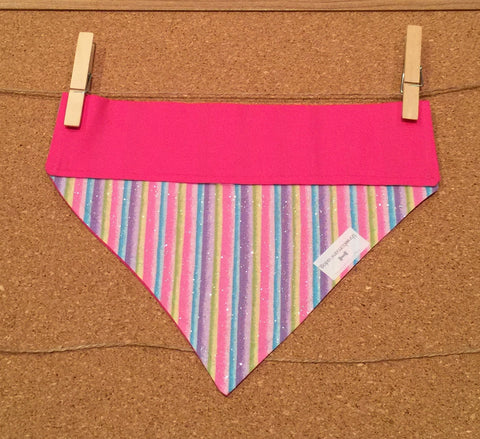 Bandana - Designed with Rhinestones on Pretty Pink Fabric - Three Humans & A Dog Company  - 3