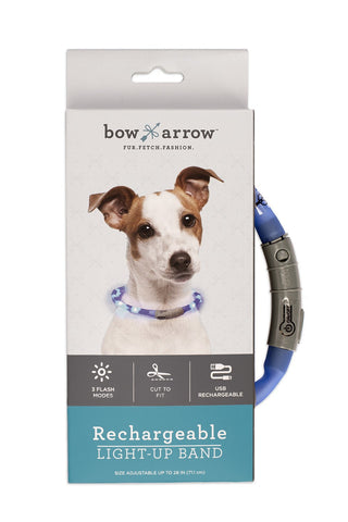 Collar - Blue Rechargeable Light Up Band - Three Humans & A Dog Company  - 2