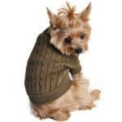 Dog Sweater - Combed Cotton Cable Herb Green Sweater