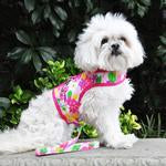 Accessories - Fabric Dog Harness with Leash - Pink Hawaiian Floral