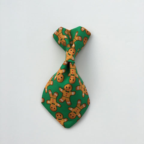 Pet Tie - Gingerbread Man on Green