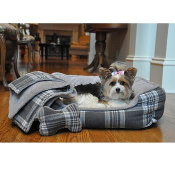 Grey Plaid Dog Bed with Bone and Blanket