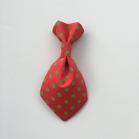 Pet Tie - Green Polka on Red
