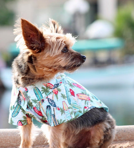 Dog Shirt - Hawaiian Camp Shirt - Surfboards & Palms