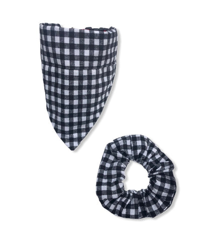 Bandana - Black Plaid - Bandana &  Hair Scrunchie Set