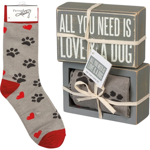 Dog Sign - Box Sign & Sock Set - All You Need is Love & A Dog