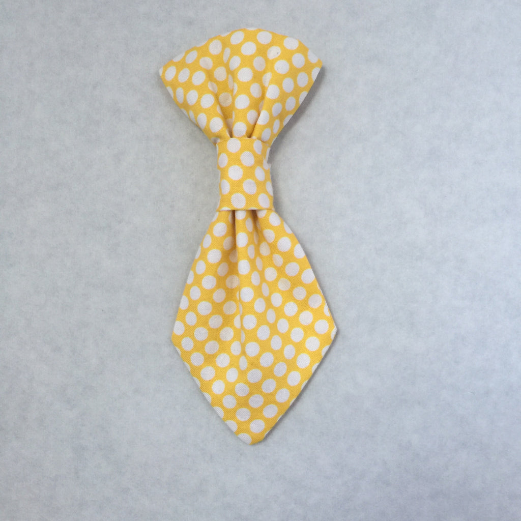 Pet Tie - Yellow with White Polka Dots