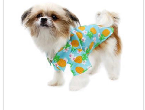 Dog Shirt - Hawaiian Camp Shirt - Pineapple Luau
