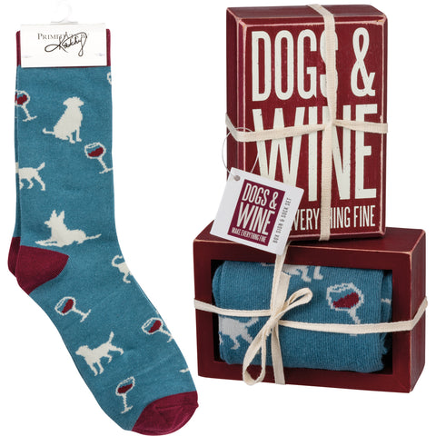 Dog Sign - Box Sign & Sock Set - Dogs And Wine