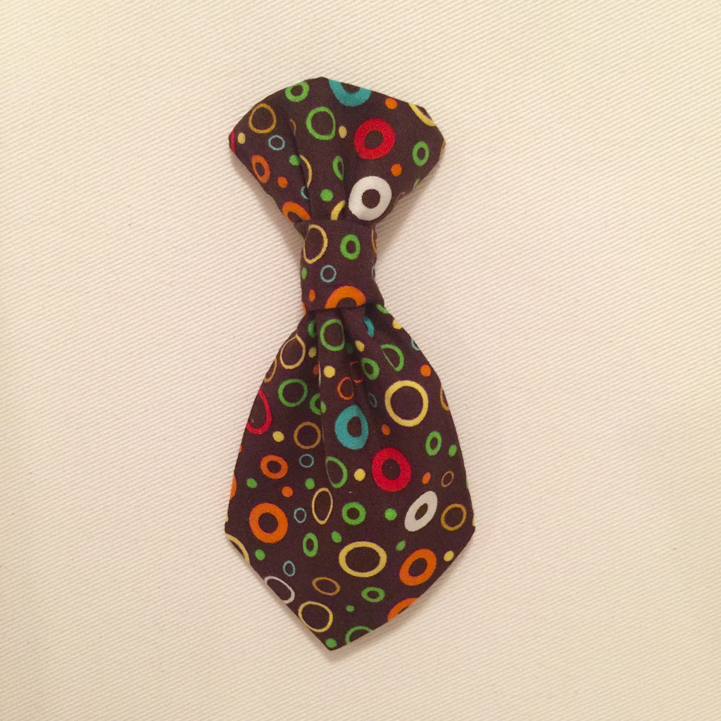 Pet Tie - Bright Circles on Brown - Three Humans & A Dog Company