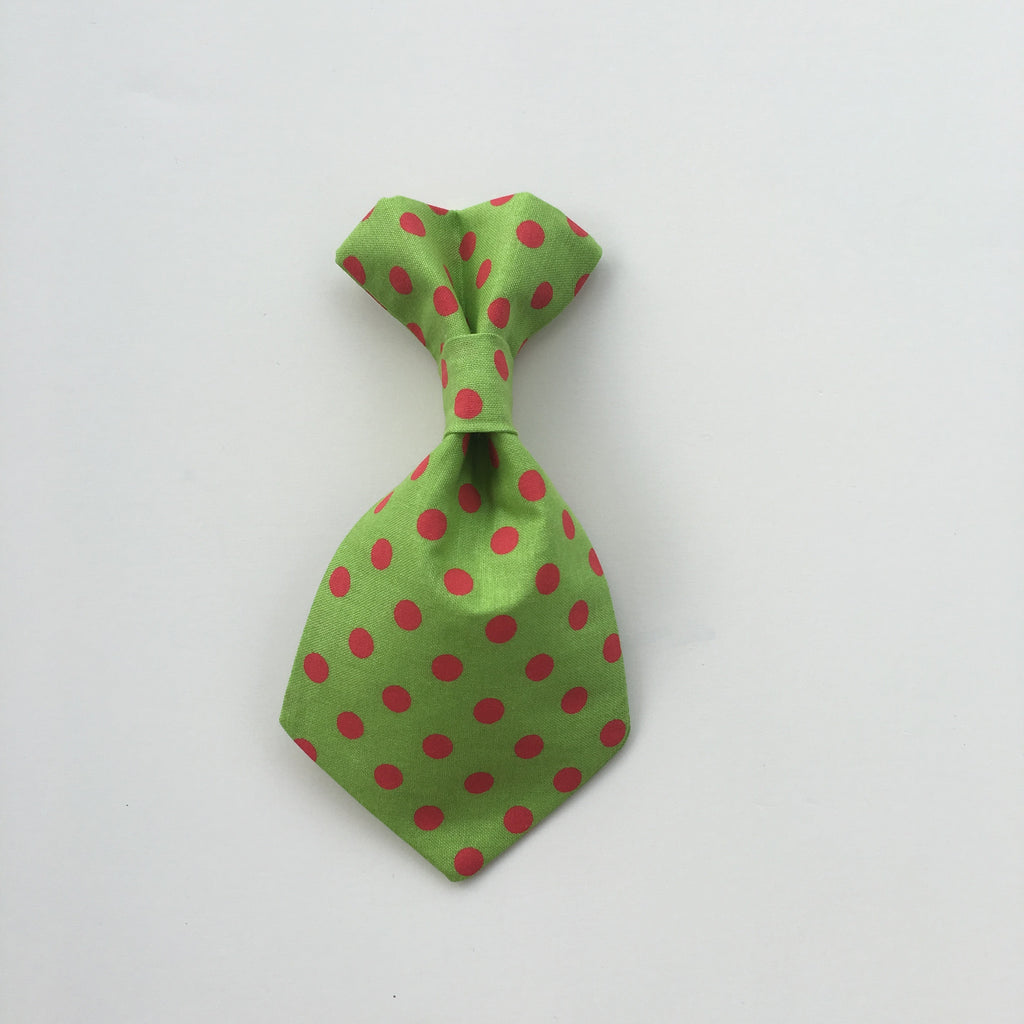 Pet Tie - Red Polka on Green - Three Humans & A Dog Company