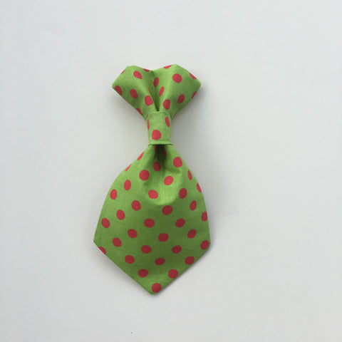 Pet Tie - Red Polka on Green