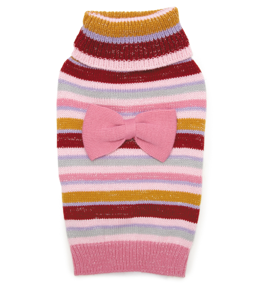 Dog Sweater - Pink Stripe Bow Sweater - Three Humans & A Dog Company
