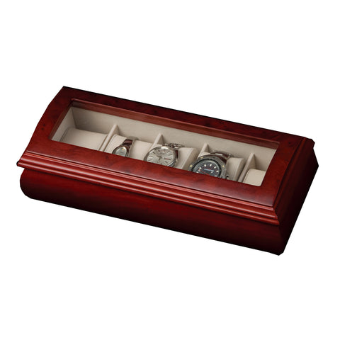 Mele & Co. Emery Glass Top Wooden Watch Box in Cherry - Harvey & Haley