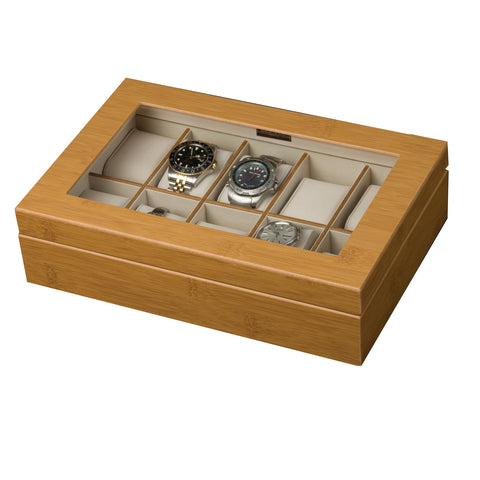 Mele & Co. Logan Glass Top Wooden Watch Box in Bamboo - Harvey & Haley