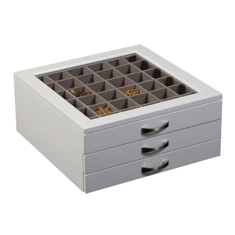 Mele & Co. Liza Glass Top Wooden Jewelry Box in White - Harvey & Haley