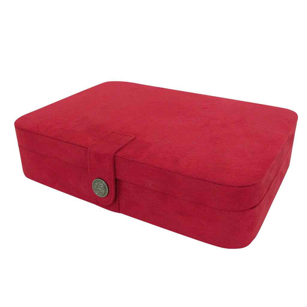 Mele & Co. Maria Plush Fabric Jewelry Box and Ring Case with Twenty-Four Sections in Red - Harvey & Haley