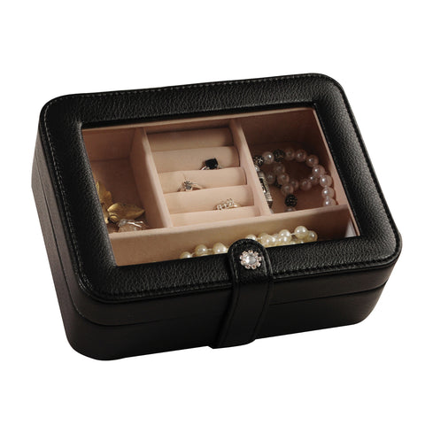 Mele & Co. Rio Faux Leather Glass Top Jewelry Box in Black - Harvey & Haley