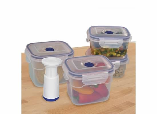 9-pcs Vacuum Food Storage Containers, Rectangular - Harvey & Haley