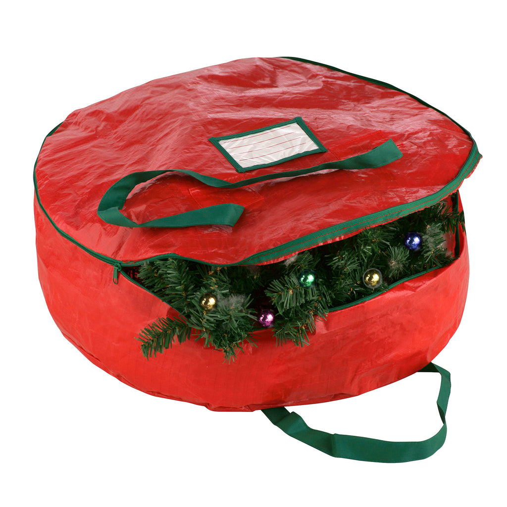 "Elf Stor Premium Red Holiday Christmas Wreath Storage Bag For 24"" Inch Wreaths - Harvey & Haley"