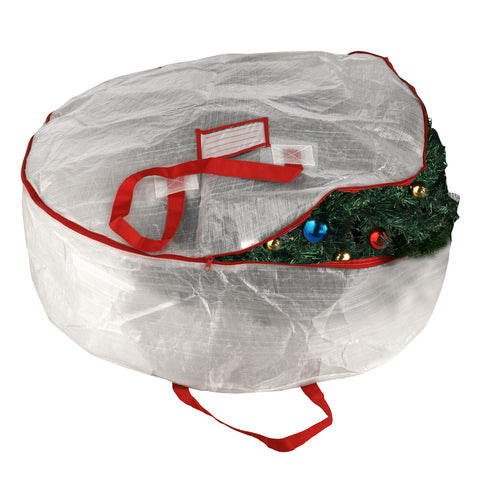 "Elf Stor Deluxe White Holiday Christmas Wreath Storage Bag For 30"" Wreaths - Harvey & Haley"