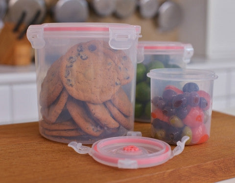 7-pcs Vacuum Food Storage Containers, Round - Harvey & Haley