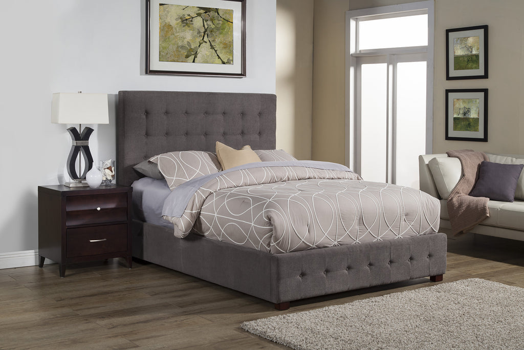 alpine alma standard king tufted upholstered bed