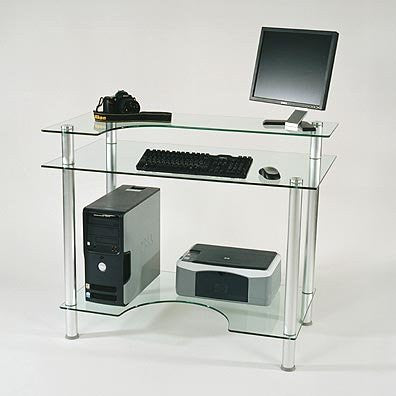 "Tempered Glass Computer Desk (Clear Glass) (30"" H x 43"" W x 24"" D) - Harvey & Haley"
