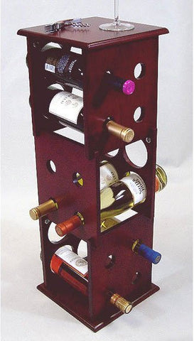 "Mahogany Wine Rack 3 Layer - Fuji (Mahogany) (28""H x 9.5""W x 9.5""D) - Harvey & Haley"