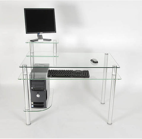 "Clear Glass and Aluminum Computer Desk (Glass and Aluminum) (29.25""H x 42.5""W x 24""D) - Harvey & Haley"