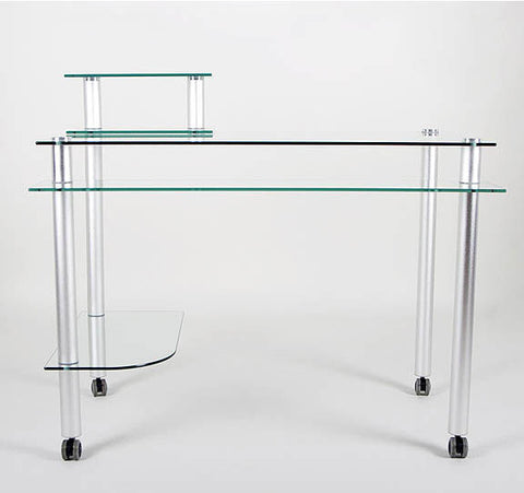 "Clear Glass and Aluminum Computer Desk with Casters (Glass and Aluminum) (31.25""H x 42.5""W x 24""D) - Harvey & Haley"