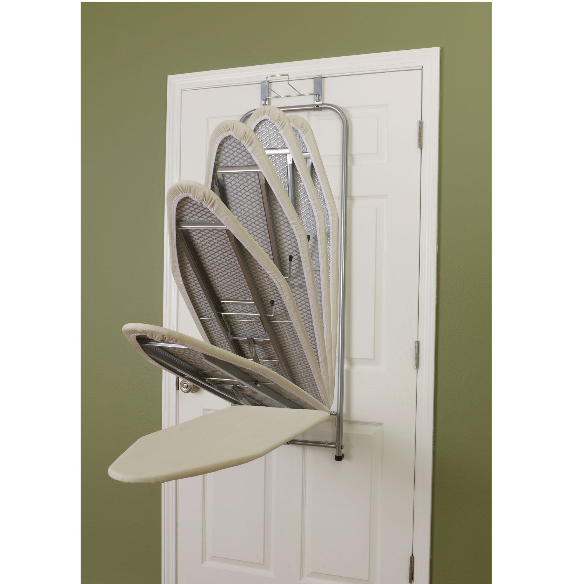 ... Over The Door Ironing Board Holder Satin Silver Compact Household Space  Saving   Harvey U0026 Haley