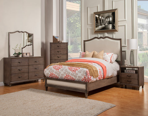 Alpine Charleston Standard King Panel Bed with Upholstered Headboard & Footboard - Harvey & Haley  - 1
