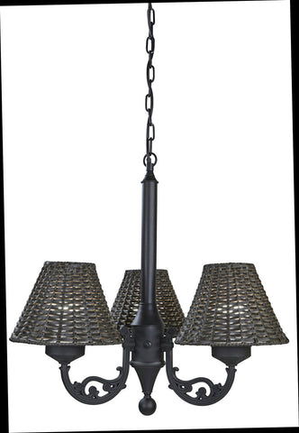 Versailles Chandelier 17750 with Black Body and Walnut Wicker Shades - Harvey & Haley
