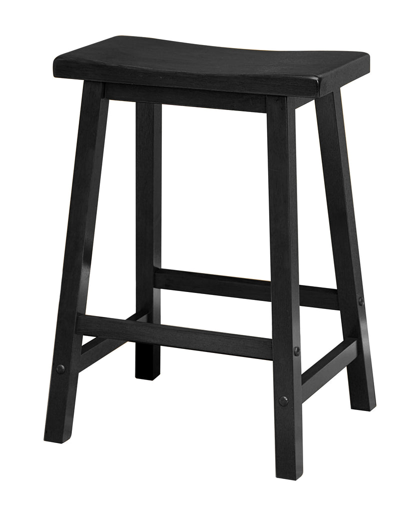 "Saddle Seat 24"" Black Counter Stool, Single, Ready To Assemble - Harvey & Haley"