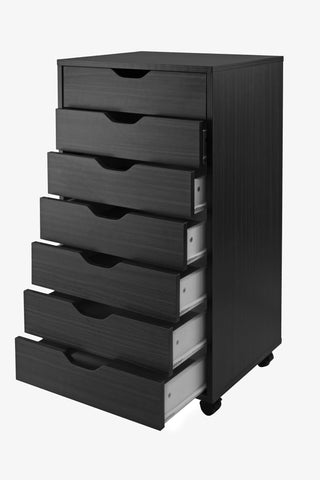 Halifax Cabinet For Closet / Office, 7 Drawers, Black - Harvey & Haley