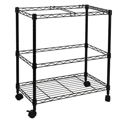 Oceanstar Portable 2-Tier Metal Rolling File Cart, Black - Harvey & Haley  - 1